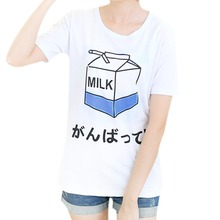 Buy 2017 summer new women's t shirt wholesale Korean ladies tees cute milk printing female tops student short-sleeved loose T-shirt for $4.54 in AliExpress store