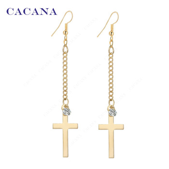 2016 new CACANA gold plated dangle long earrings for women top quality cross with a CZ diamond bijouterie hot sale No.A199 A200