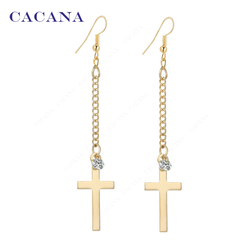 2016 new CACANA gold plated dangle long earrings for women top quality cross with a CZ diamond bijouterie hot sale No.A199 A200(China (Mainland))