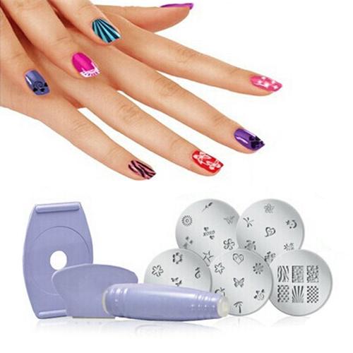 5pcs Salon Express Pro Nail Art Stamping Stamp Tools Image Plates Set Manicure Kit Stencil Tool DIY Designs Free Shipping(China (Mainland))