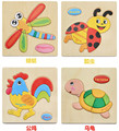 15 15 1cm cartoon animals vehicle 3D Wooden puzzles early education tridimensional Puzzles educational Toys Hobbies