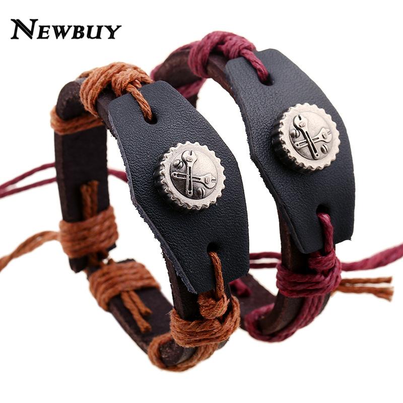 2016 New Fashion Genuine Leather Charm Bracelet Men Handmade Braided Hemp Rope Bracelets & Bangles 2 Colors Wholesale(China (Mainland))