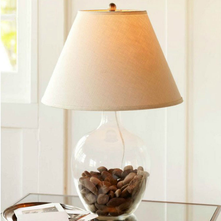 Transparent glass sprinkled round the altar table lamp diy for Diy bedroom lamp