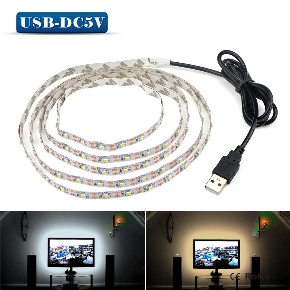 5V 50CM 1M 2M 3M 4M 5M USB Cable Power LED strip light ...