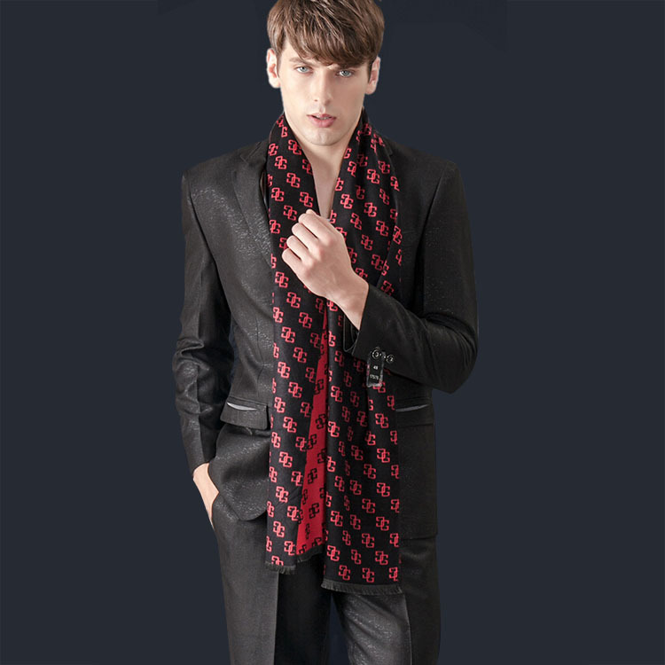 Leopard Real Men 2014 New Winter Men's Fashion British Style Silk Scarf Long Fringed Scarves Knitted Warm Letters Thin H-nswj33 - Online Store 738068 store