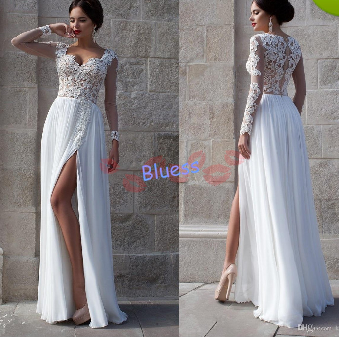 Hot Sales Sexy Sweetheart Long Sleeve Sheer Lace Bodice A-Line Split Side Chiffon Beach Wedding Dresses Floor-length Bridal Gown - bluess store