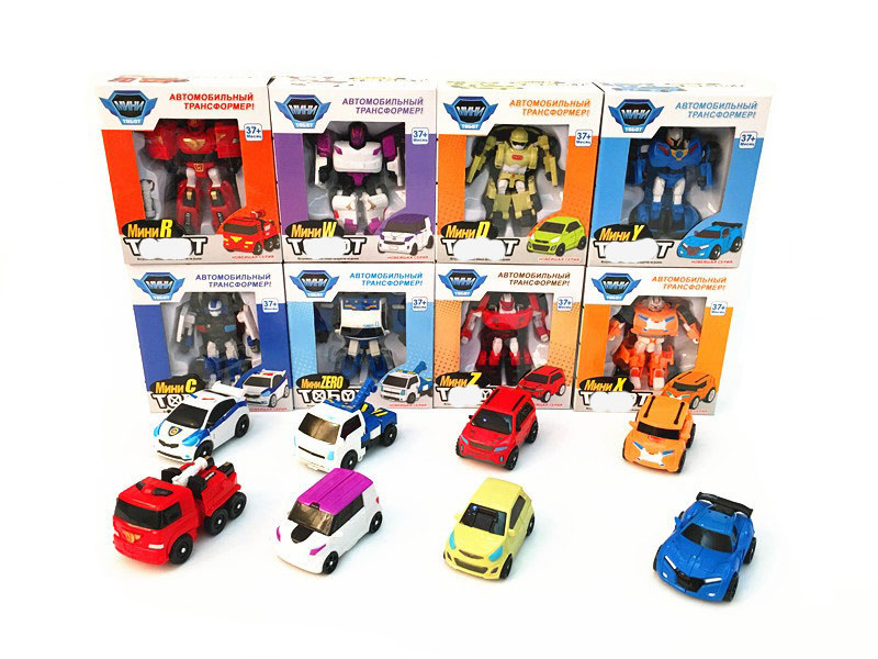 Free shipping 8pcs/Lot Kids Car Robot Transformation Cartoon Vehicle Car Robot Car Toys For Children Gift(China (Mainland))