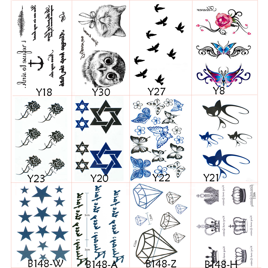 12PCS/Lot Tattoo Sleeve Fake Tattoo Lovely Cat Bird Owl Feather Body Art Waterproof Temporary Tattoos Stickers For Men And Women(China (Mainland))