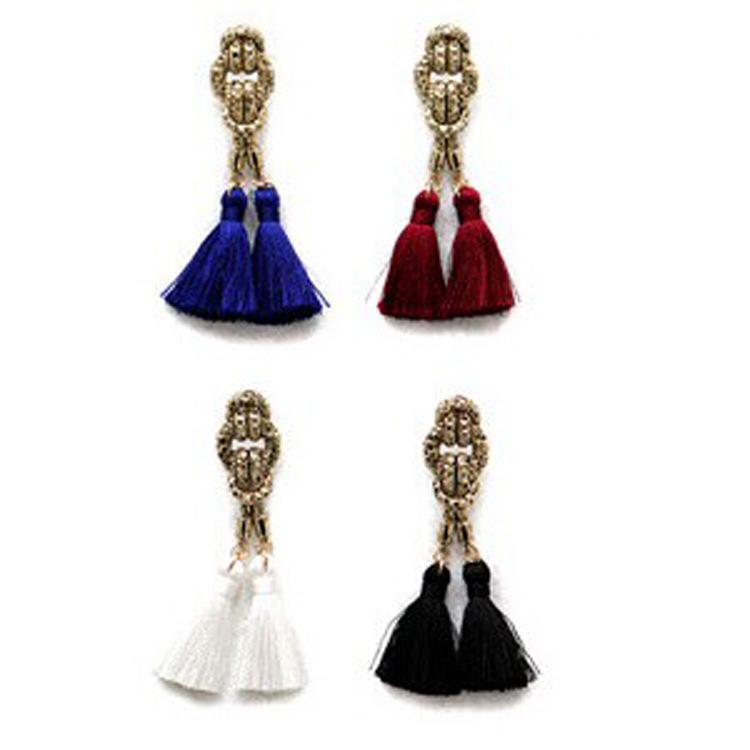 2015 Latest Style Long Earrings Wool Tassel Eardrop Color Stud Earrings Women Ear Pin Fashion