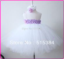 1pc free shiping handmade long baby tutu dress most fashion white princess tulle dress with headband kids tutu gown party dress