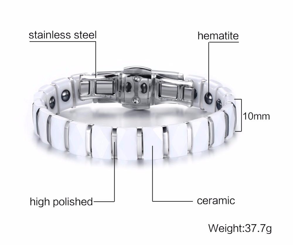 Men bracelet Magnetic Healthy Jewelry White 16