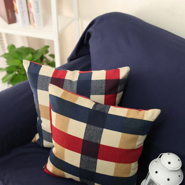 Rustic red blue square 100% cotton cushion case pillow cover Scotland plaid home textile sofa cushion 50/60cm(China (Mainland))