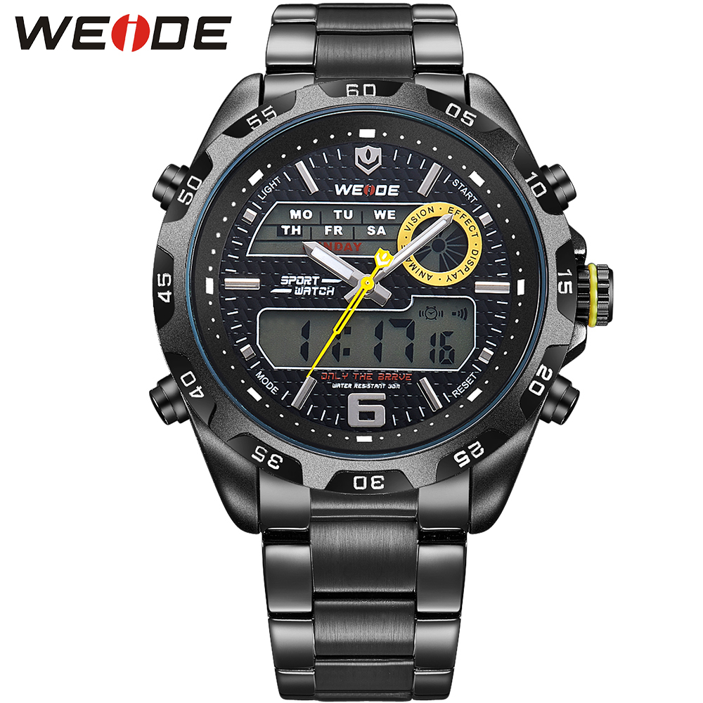 WEIDE New Luxury Mens Quartz Business Watches Multifunctional Analog Digital Date Alarm Display Stainless Steel Straps Men Gift<br><br>Aliexpress