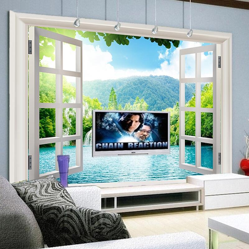 Online kaufen gro handel 3d wasserfall aus china 3d for 3d tapete wohnzimmer