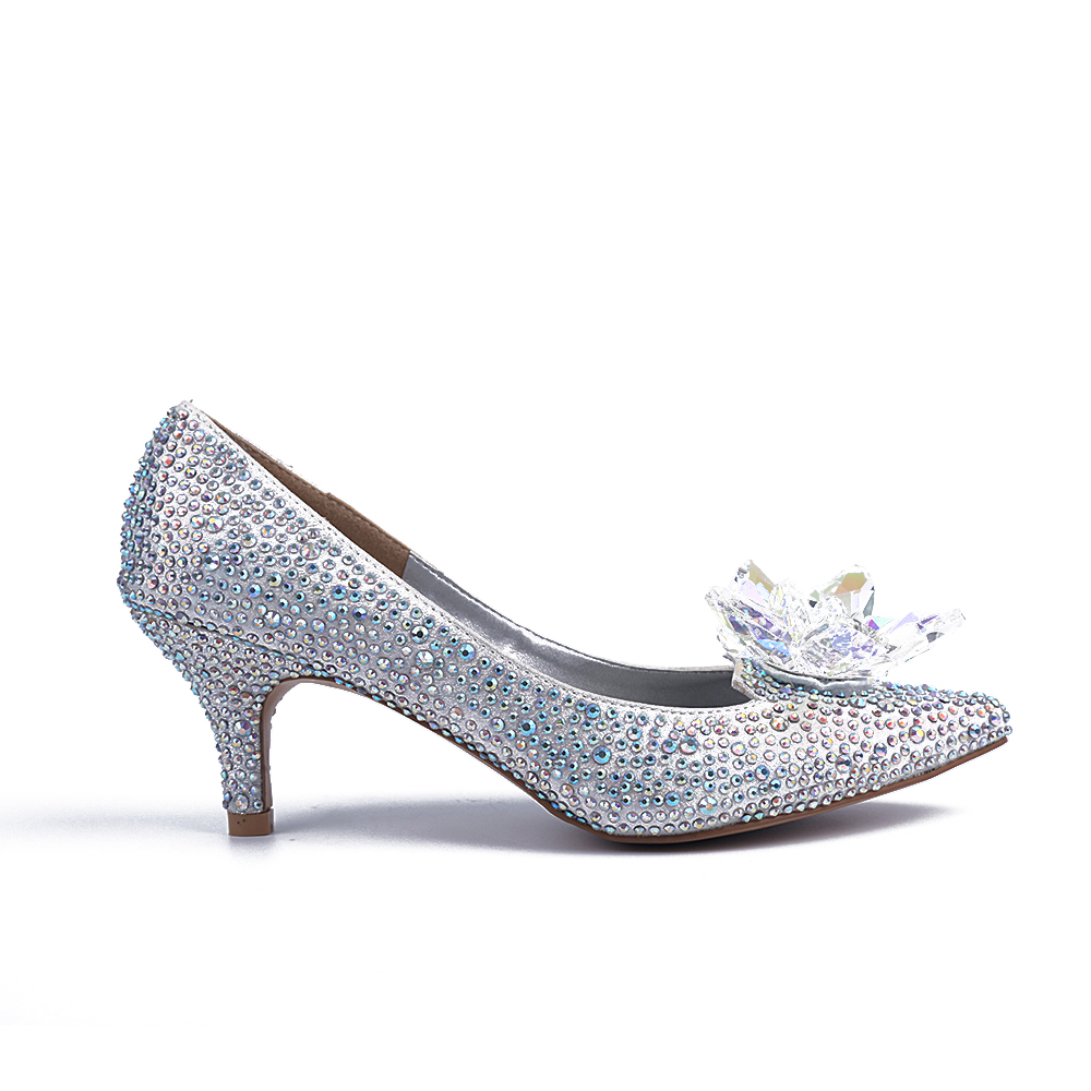 Blossom of Women Free Shipping Hot Sale Cinderella Crystal Low Heeled Wedding Bridal Shoes<br><br>Aliexpress