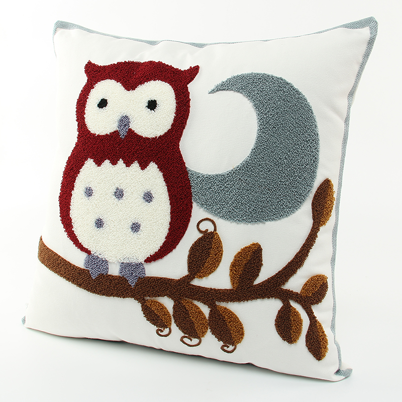 2016 Hot Sale Embroidered Owls Cushion Without Inner Cotton Home Decor Sofa Car Seat Decorative Throw Pillow(China (Mainland))