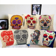 Linen Cushion Covers Skull Printed 45x45cm/17.7x17.7'' For Sofa Decorative Cotton Pillowcover Throw Pillow Case Sofa Decor Couch(China (Mainland))