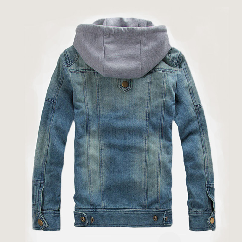 2015 Winter Mens Clothes Zipper Slim Hooded Denim Jacket Outdoors Casual Jeans Jacket Male Outerwear 100