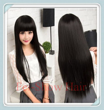 Synthetic Cute Lady's Cheap Lace Cap Heat Resistant Long Straight Black Hair Wig Cosplay Anime Salon Party Diary Wig(China (Mainland))
