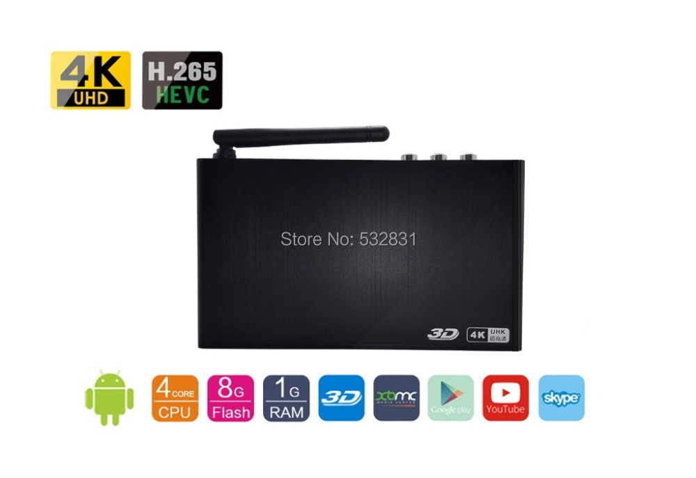 BFS 4KH 4K Quad Core Android 4.4 TV Set Top Box XBMC H.265 Smart Mediaplayer 3D/BD ISO DTS/Dolby DLNA Miracast Airplay Hisilicon(China (Mainland))