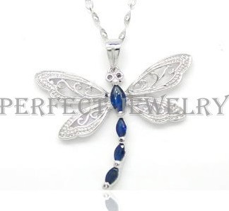Sapphire necklace pendant 925 sterling silver Flower Dragonfly style #15022502