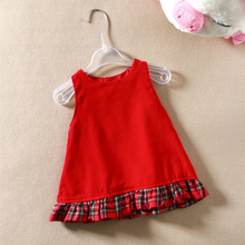 HOT new fashion baby Girls dress autumn Teenage cotton princess vestidos sleeveless vest red christmas clothing Clearance sale(China (Mainland))