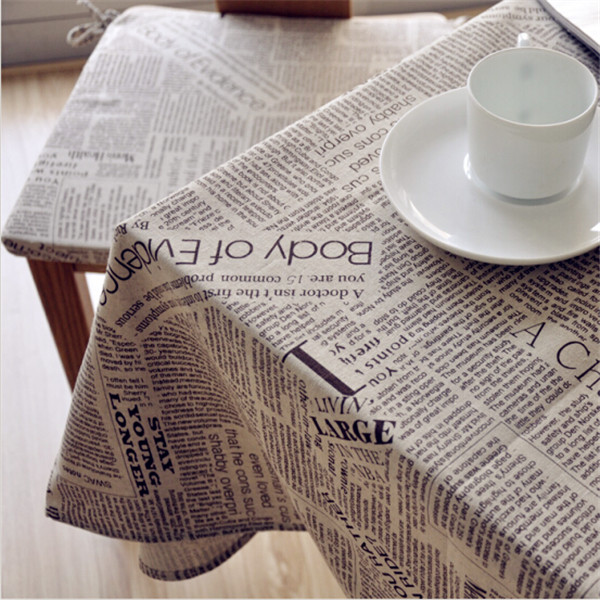 Teatable Newspaper Tablecloth Printed Table Covers Linens Bordada European Style Party Tablecloth Handmade linen Tea Table Cover(China (Mainland))