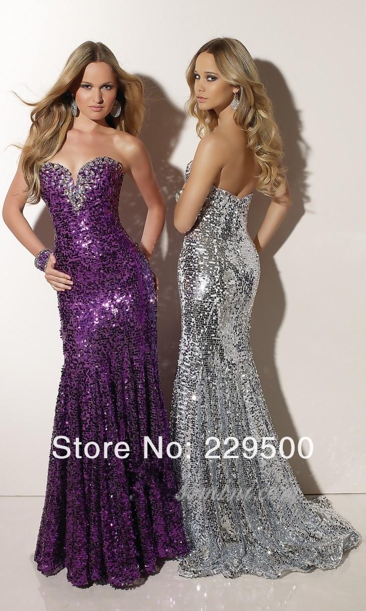 Fashion Style Sweetheart Diamond Gold Silver Purple Sequin Mermaid Long Evening Dresses Prom