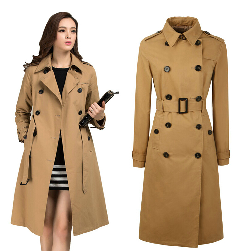 Hot-selling brand fashion casual clothing spring autumn classic women's outerweardouble breasted belt long trench coat / S-XXL(China (Mainland))