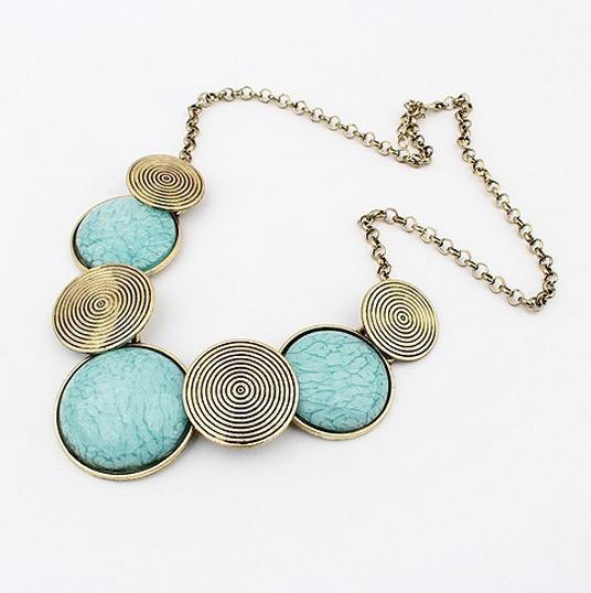 Fashion Women Lady Bohemian Turquoise Stone Necklace Pendant Vintage Jewelry Wholesale AN568(China (Mainland))