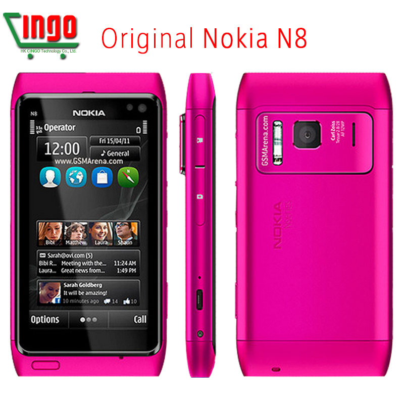 "Original Nokia N8 Mobile Phone 3.5"" Capacitive Touch screen Camera 12MP 3G Unlocked N8 Cellphone Free Shipping(China (Mainland))"
