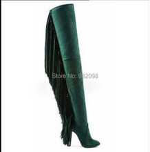 2015 green suede leather tassel Boots over knee genuine leather Women Motorcycle Boots super high heels Autumn runway Shoes(China (Mainland))