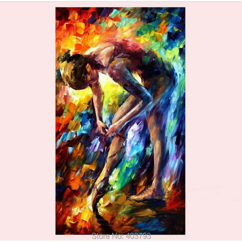 Buy Hand painted Ballet girl Dancer Modern Abstract Knife Oil Painting On Canvas Home Decoration - Intl cheap