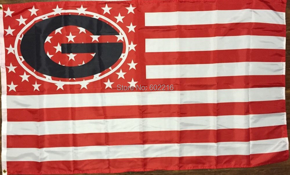 University of Georgia Bulldogs Flag 3 x 5 Banner Stars and Stripes Tailgate UGA 3FTX 5FT(China (Mainland))