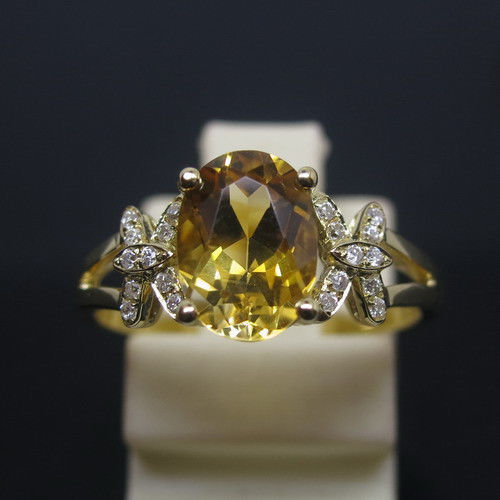 Promotion Solid 2.33g 14K Yellow GOLD Oval 6x8mm 1.59ct Citrine 0.08ct Natural Engagement Ring retail wholesale Free Shipping(China (Mainland))