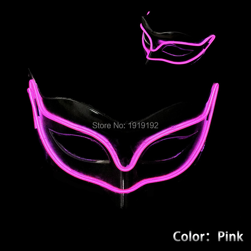 New 10 color Halloween Style Fox Mask EL wire Masks glowing neon Festival LED Glowing Party DJ dance Carnival Masks(China (Mainland))