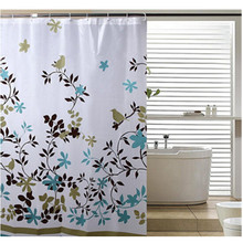 Free Shipping Classic Floral 1.8*1.8m Thick Waterproof PEVA Shower Curtain Bathroom Curtain With Hooks MU870645(China (Mainland))
