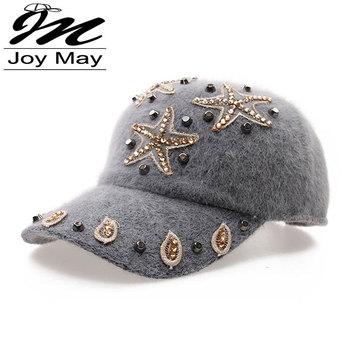 Free shipping fashion winter hat rabbit fur baseball cap Starfish Women's Autumn and Winter cap W010