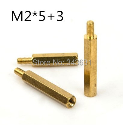100pcs/lot m2 *5+3  m2*5  male to female  hex  Brass Standoff  Spacer<br><br>Aliexpress