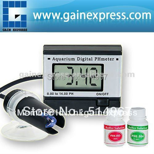 Digital pH Meter Tester Monitor Hydroponics Aquarium with 1M 1Meter Fixed Cable 0.00~14.00pH + 2 Buffer solutions(Hong Kong)
