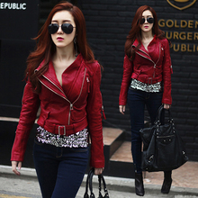 Spring red Leather Jacket Women Coat Sheepskin Short  Zippers Turn-down Collar Motorcycle clothing SR003(China (Mainland))