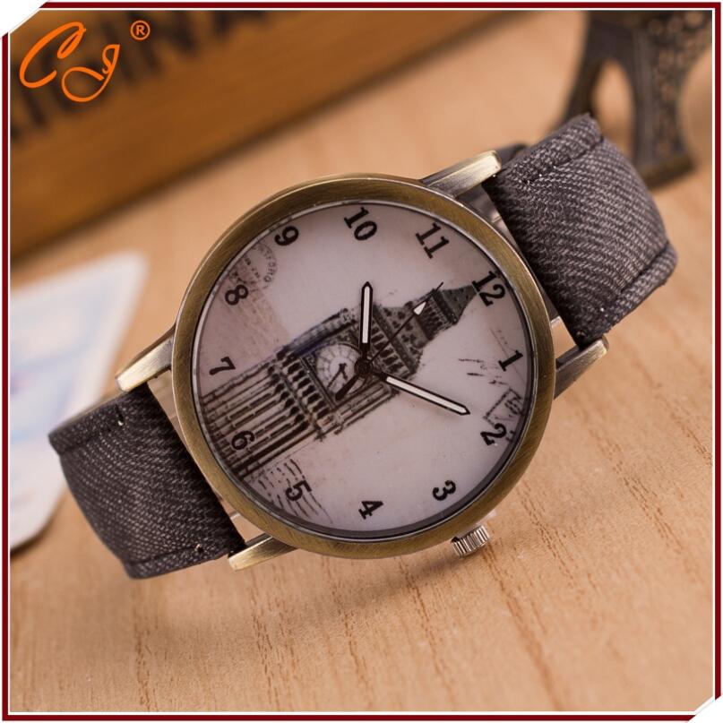 Denim retro watch Big clock tower of London student leisure bronze retro canvas strap watch watch<br><br>Aliexpress