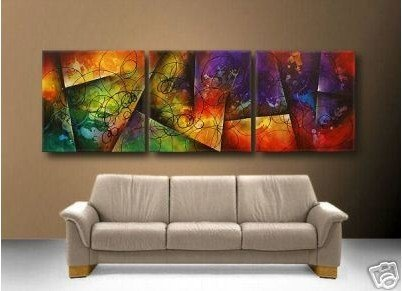 free shipping handpainted 3 piece modern abstract wall art