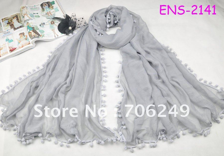 ,single scarf Pom Pom,plain shawl,fashion ladies scarf,size 110*180cm,2012 new design,women's - ELLEN FASHION ACCESSORIES store