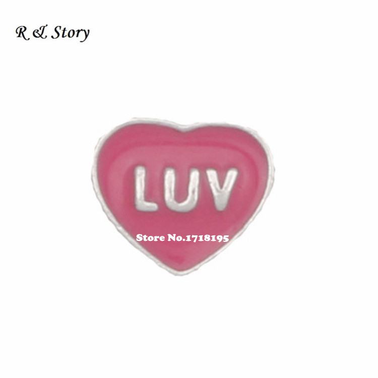 LUV on Red Heart Floating Charm for Glass Memory Living Life Locket LFC_713(China (Mainland))
