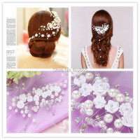 2015 Bridal Accesspries Pearls Flowers Short Bride hair accessory Wedding Veil Bridal Veil Wedding Brides hair decoration