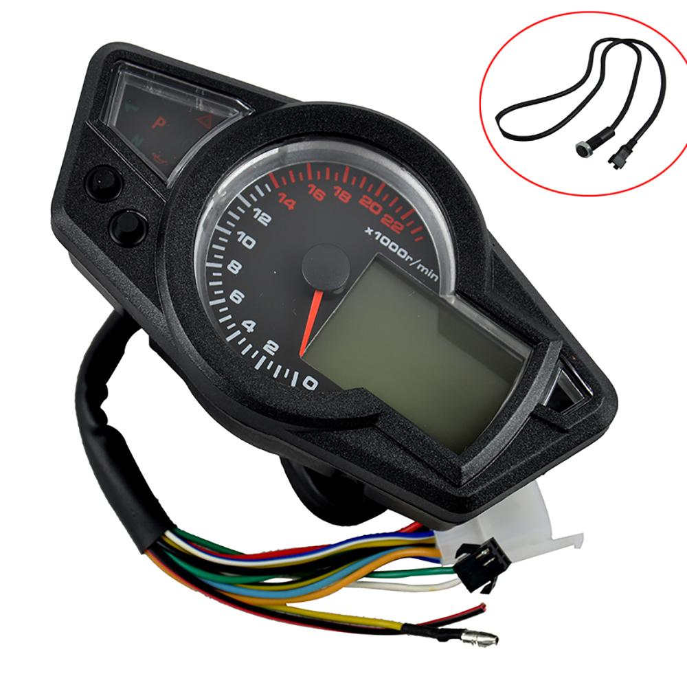 12V DC MPH/KMH Motorcycle LCD Digital Odometer Speedo Meter Tachometer Instruments Backlight Tire Size Adjust 22000RPM(China (Mainland))