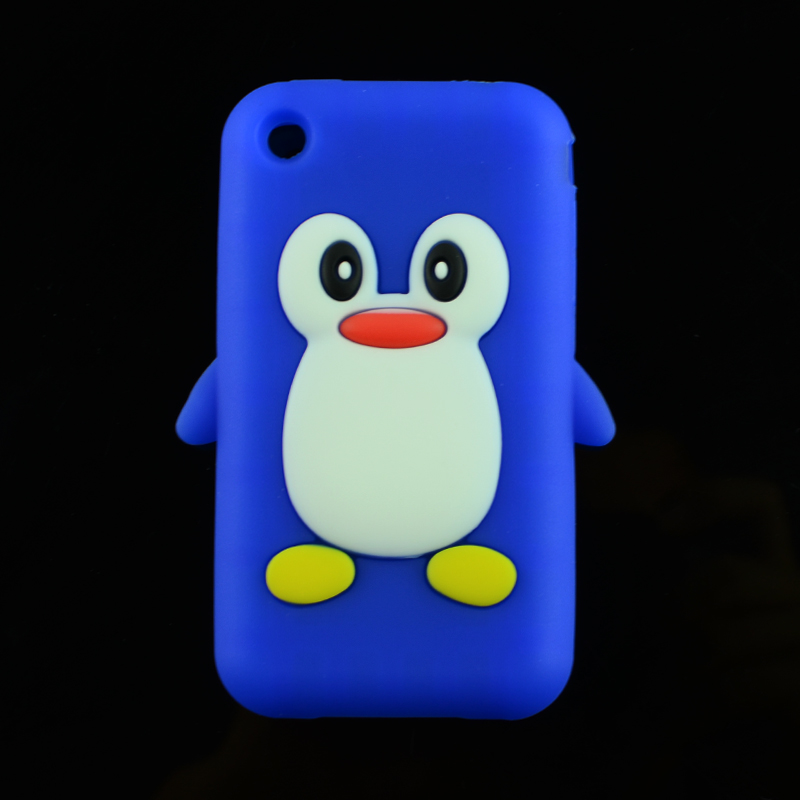 Cartoon Lovely Cute 3D Penguin Soft Silicone Rubber Skin Case back Cover for Apple iPhone 3G 3 3Gs Phone Case Bag(China (Mainland))