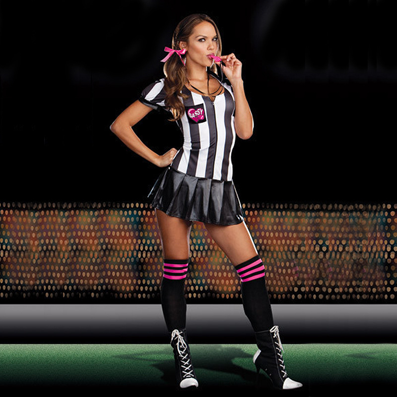 Eurocup white and black strip referee bambino cheerleader Costumes sexy Football Girls cosplay halloween vestito esotico dress(China (Mainland))