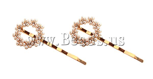 Free shipping!!!Hair Slide,Designer Jewelry 2013, Zinc Alloy, with Glass Pearl, gold color plated, with rhinestone, nickel(China (Mainland))